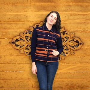 Italian Joseph Horne Co Striped Belted Sweater